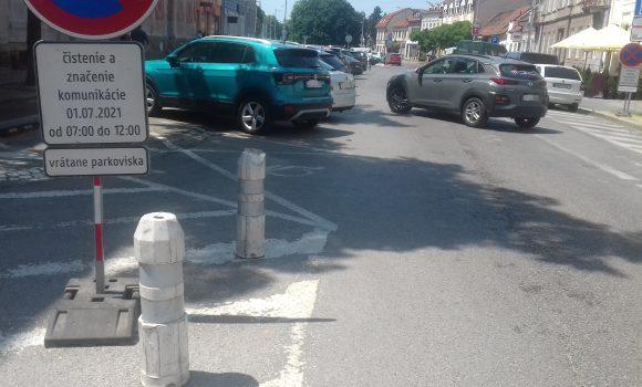 Na Palackého nebude možné1. júla dopoludnia parkovať